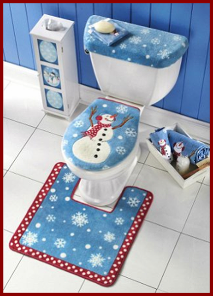 snow man toilet set cover