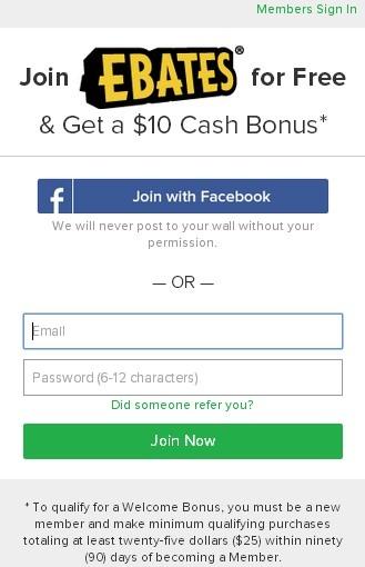 ebates free cash back