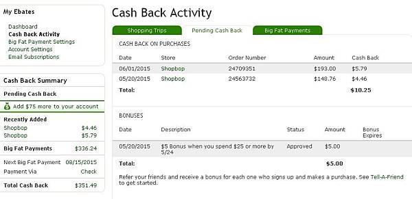 cash back account ebates