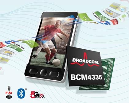 博通推出智慧型手機及平板電腦5G WiFi組合晶片