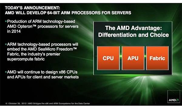 AMD 將在 2014 年推出基於 ARM 架構的 64 位元 Opteron 伺服器 CPU