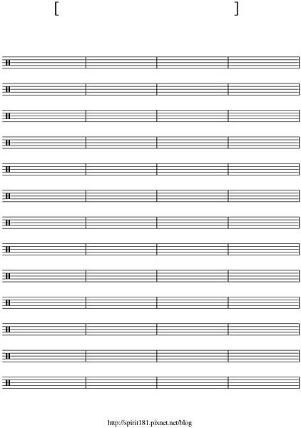blank sheet music-52 bar