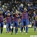 巴塞隆納慶祝比賽的勝利