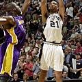 Tim Duncan -- 共 3 次單場罰球次數超過 20 次