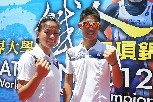 中華代表隊選手(左)張蘿苡(右)謝昇諺期許在2012世界大學鐵人三項錦標賽中奪得佳績
