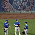 Jay Bruce 、 Matt Cain 、 Craig Kimbrel 在外野閒聊