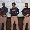 Lamigo桃猿的三名球星到場,分別為陳金鋒、鍾承佑以及陳冠任到場出席