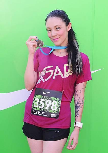 藝人歐陽靖今年再次參加Nike女生路跑,鼓勵所有女生動起來,用實踐行動改變自我