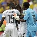 迦納球員John Boye因為造成烏龍球感到相當懊惱