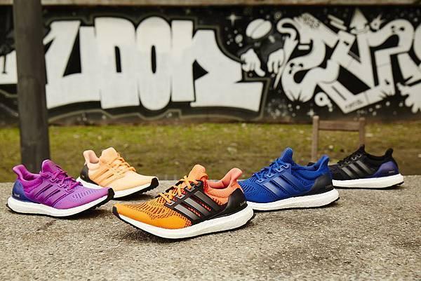 2.不同色系的Ultra BOOST並於鞋面與後踝的U型穩定片巧妙運用各種配色相襯,演繹豐富而多變的都會跑格,也因此成為全球潮流指標Kayne West的實著鞋款。