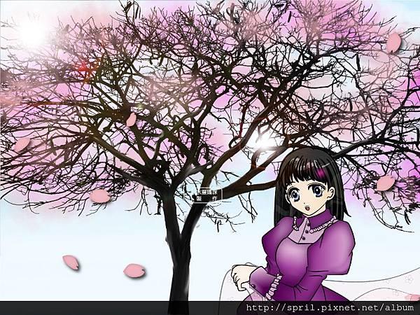 櫻花樹下的女孩