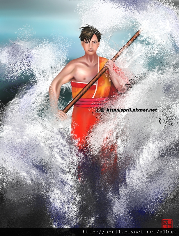 海波浪中的人
