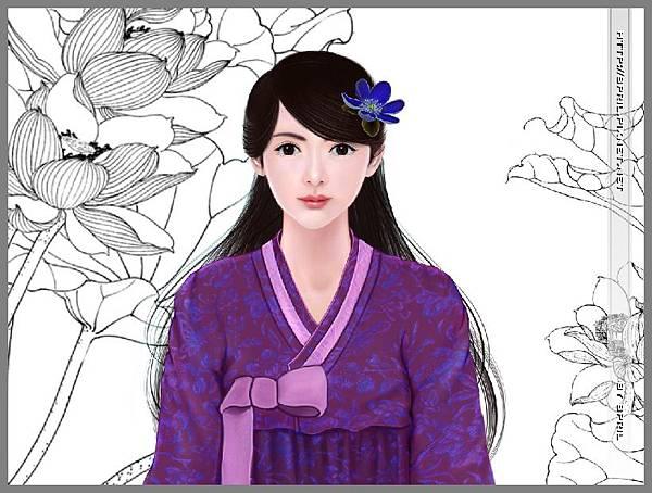紫裝韓服女生