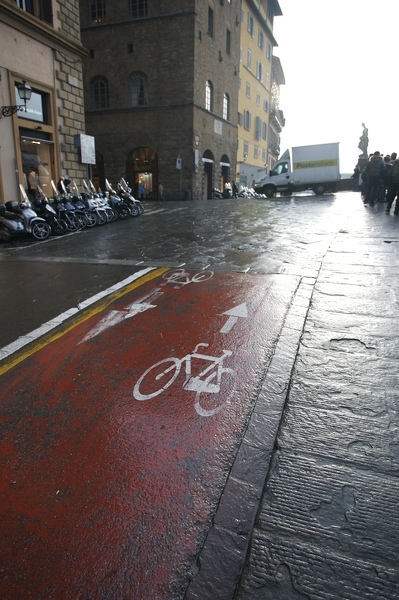 溼滑的單車道