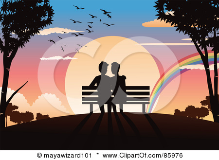85976-Royalty-Free-RF-Clipart-Illustration-Of-A-Romantic-Gay-Couple-Sitting-On-A-Bench-Watching-A-Rainbow-In-Front-Of-A-Sunset.jpg