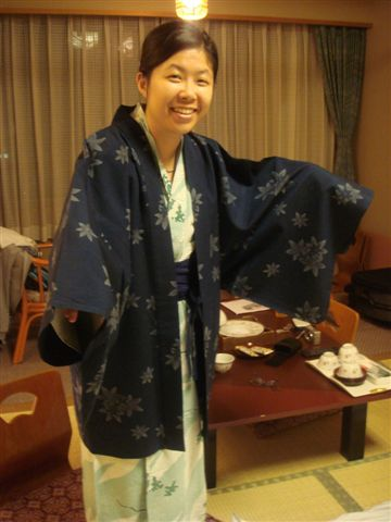 旅館內的浴衣,有外套喔