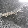 懸空又克難的木橋,要快步通過