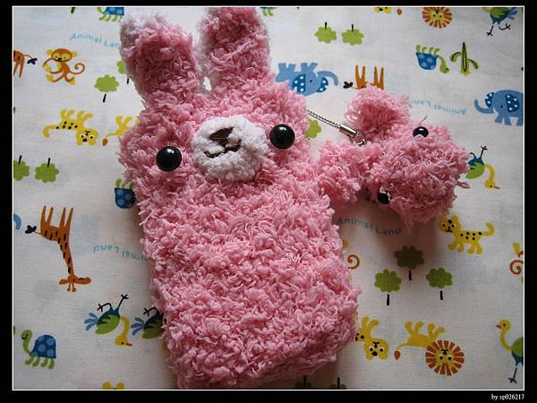 粉紅毛巾線兔兔款1