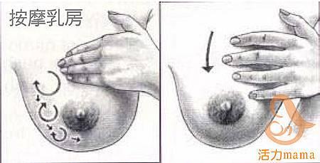 追奶發奶按摩方法2:畫圓輕推法