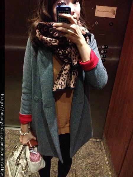 豹紋毛料圍巾(粉*咖) II