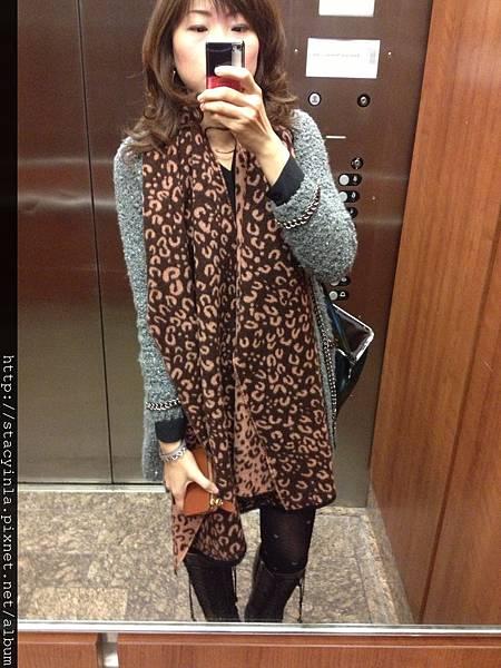 豹紋毛料圍巾(粉*咖) III