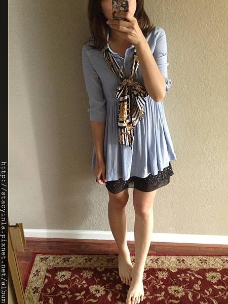 自訂-領口手縫寶石透肌洋裝 - 紫羅藍 I