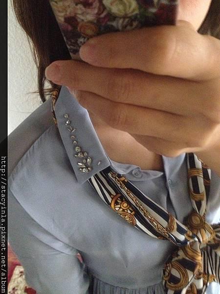 自訂-領口手縫寶石透肌洋裝 - 紫羅藍 II
