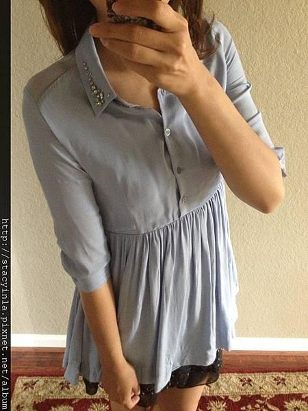 自訂-領口手縫寶石透肌洋裝 - 紫羅藍 III