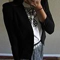 AS01 黑色後蕾絲雪紡紗西裝外套, 售價 $900