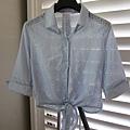 AS11 藍色綁帶洞洞襯衫, 售價400