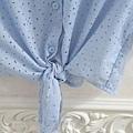 AS11 藍色綁帶洞洞襯衫, 售價 $400
