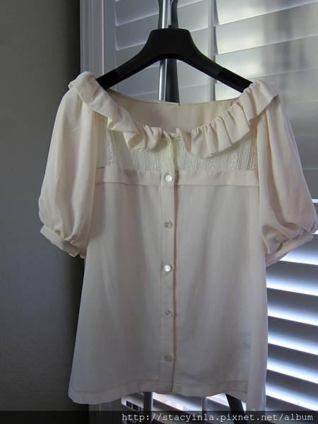 M8 高質感澎袖蕾絲襯衫, 售價 $400