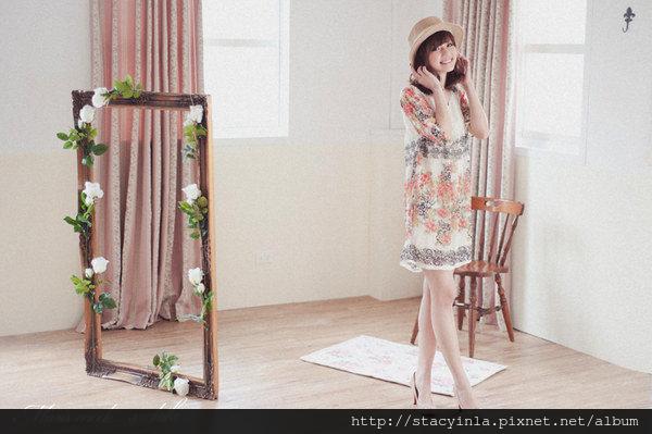 M11 米白玫瑰花園印花雪紡洋裝, 售價 $800