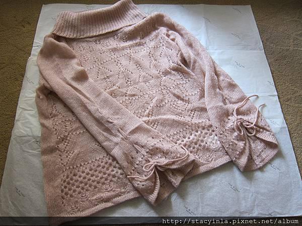 W2 暖粉針織寬袖高領上衣