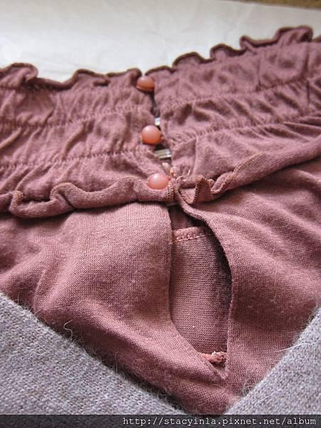 W3 t-parts 豆沙粉短袖荷葉高領上衣