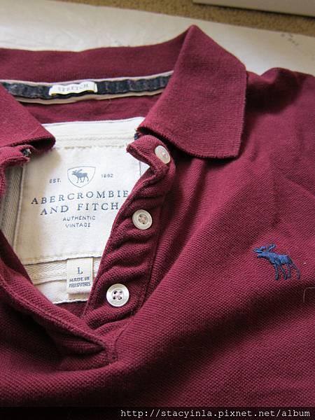 W5 A&F 酒紅色polo衫 L號