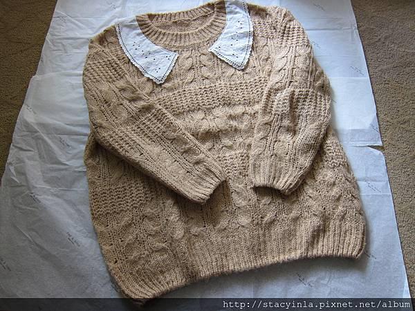 D5 英倫大勾針蕾絲領毛衣芥黃