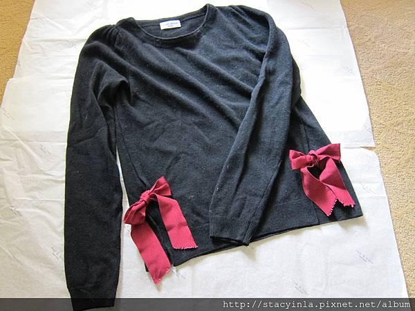 D4 優雅蝴蝶結黑色毛料上衣