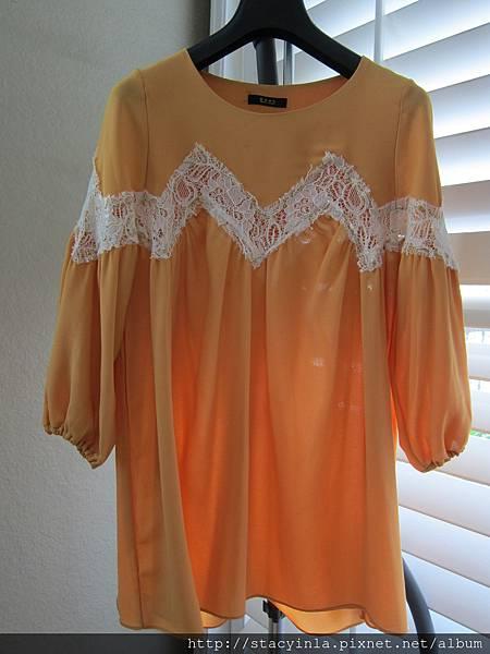 AS16 黃色簍空蕾絲洋裝