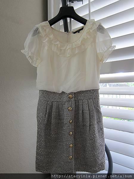 W18 假兩件式名媛風洋裝
