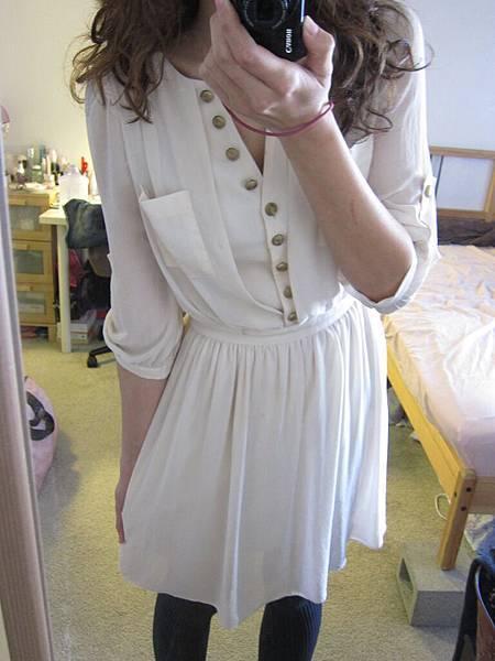 洋裝 31 名媛系金釦假兩件式洋裝, $1000