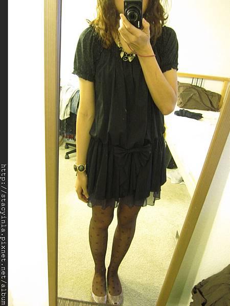 洋裝25 黑色蝴蝶結雪紡短洋裝 $500 (2)