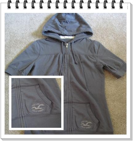 上衣 3 Hollister 棉質鐵灰色短袖長版帽T.jpg