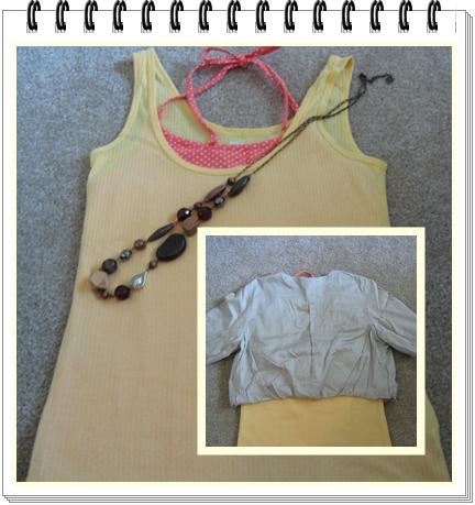 上衣 7 Gap鵝黃色背心 +橘紅色點點綁帶小可愛.jpg