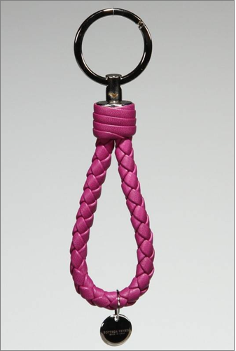 Bottefa Veneta Braided Key Ring in Purple.png