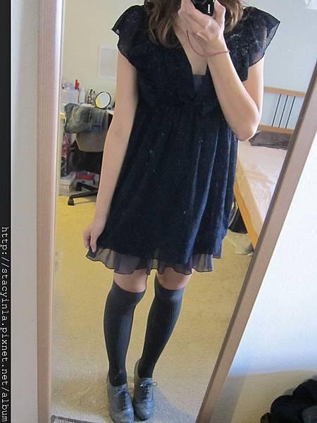 洋裝24 紫羅蘭低調絨布 x 雪紡 洋裝 $800 (1)