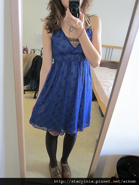 洋裝 14 Nice Claup 寶藍亮蔥圈圈綁帶洋裝 $800 (1).JPG