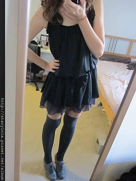 洋裝 25 黑色蝴蝶結雪紡短洋裝 $500 (2)