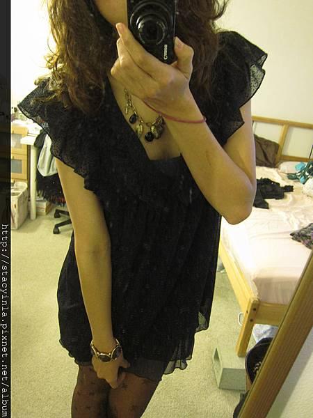 洋裝 24 紫羅蘭低調絨布 x 雪紡 洋裝 $800 (2)