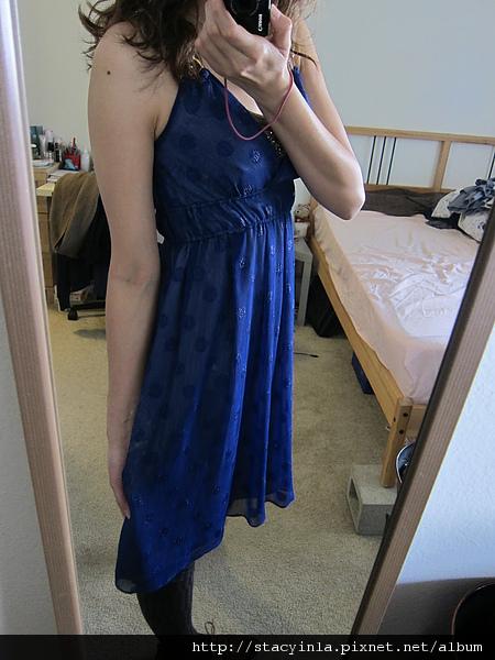 洋裝 14 Nice Claup 寶藍亮蔥圈圈綁帶洋裝 $800 (2).JPG